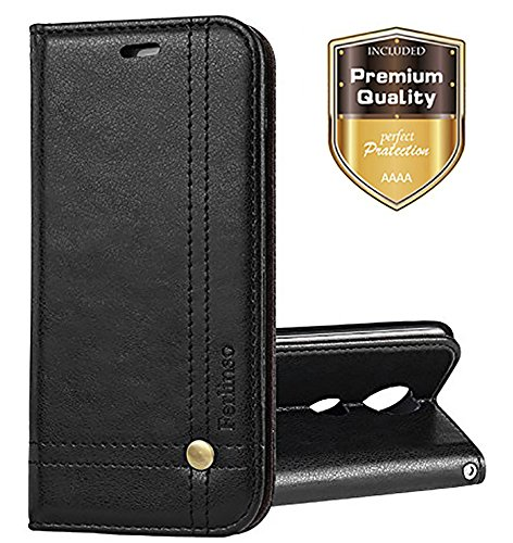 Moto Z2 Force Case, Ferlinso Elegant Retro Leather with ID Credit Card Slot Holder Flip Cover Stand Magnetic Closure Case for Moto Z2 Force / Moto Z Force 2nd Generation-Black (Retro Id Credit Card)