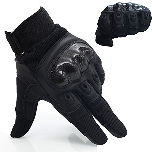 OMGAI Men's Full Finger Motorcycle Gloves of PU Leather and Hard Knuckle for Military Tactical Airsoft Outdoor Sports Black, L