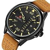 Renwangda Men's Quartz Watches Auto Date Clock Leather Strap Army Military Sports Wrist Watch