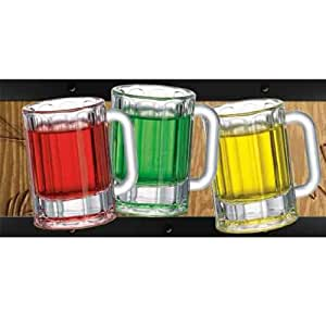 Happy Hour Set of 6 Panel Beer Mug Shooters
