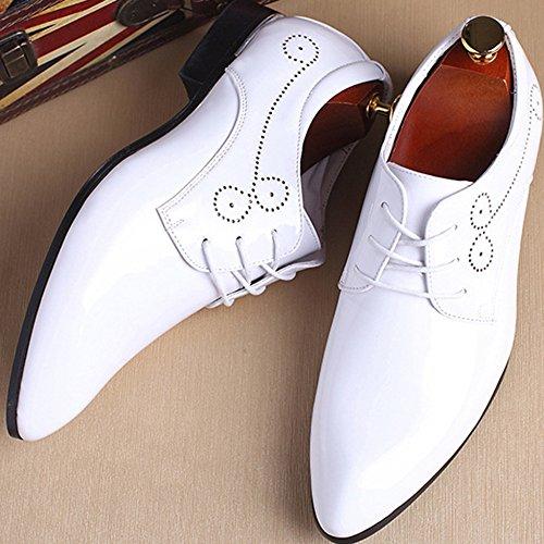 Del Ocasionales De Del Estilista Zapatos Brogue La White De Pelo Acentuado Negocios Pie Dedo Caballero Los De Derby Banquete Del Cuero De Charol Boda Hombres De Zapatos De De Vendimia 7EI6x