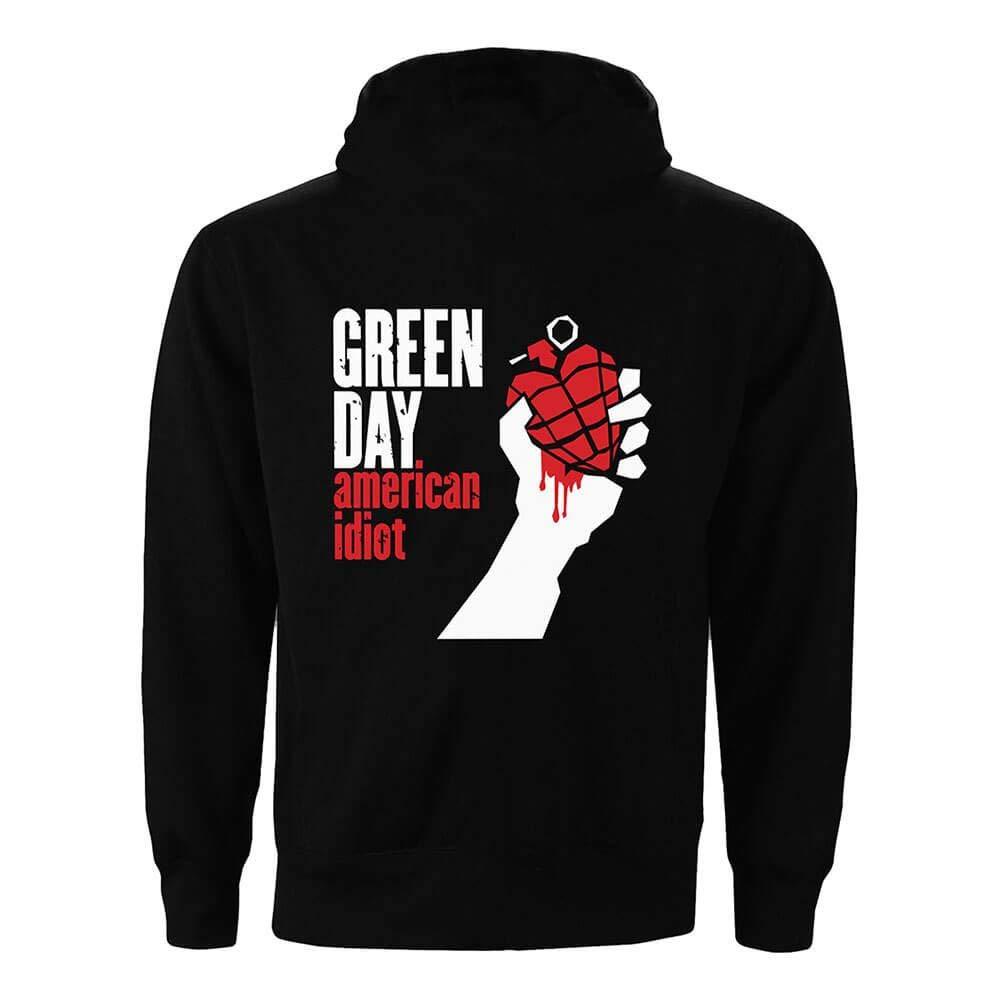 Green Day Felpa con Cappuccio e Zip American Idiot Nera