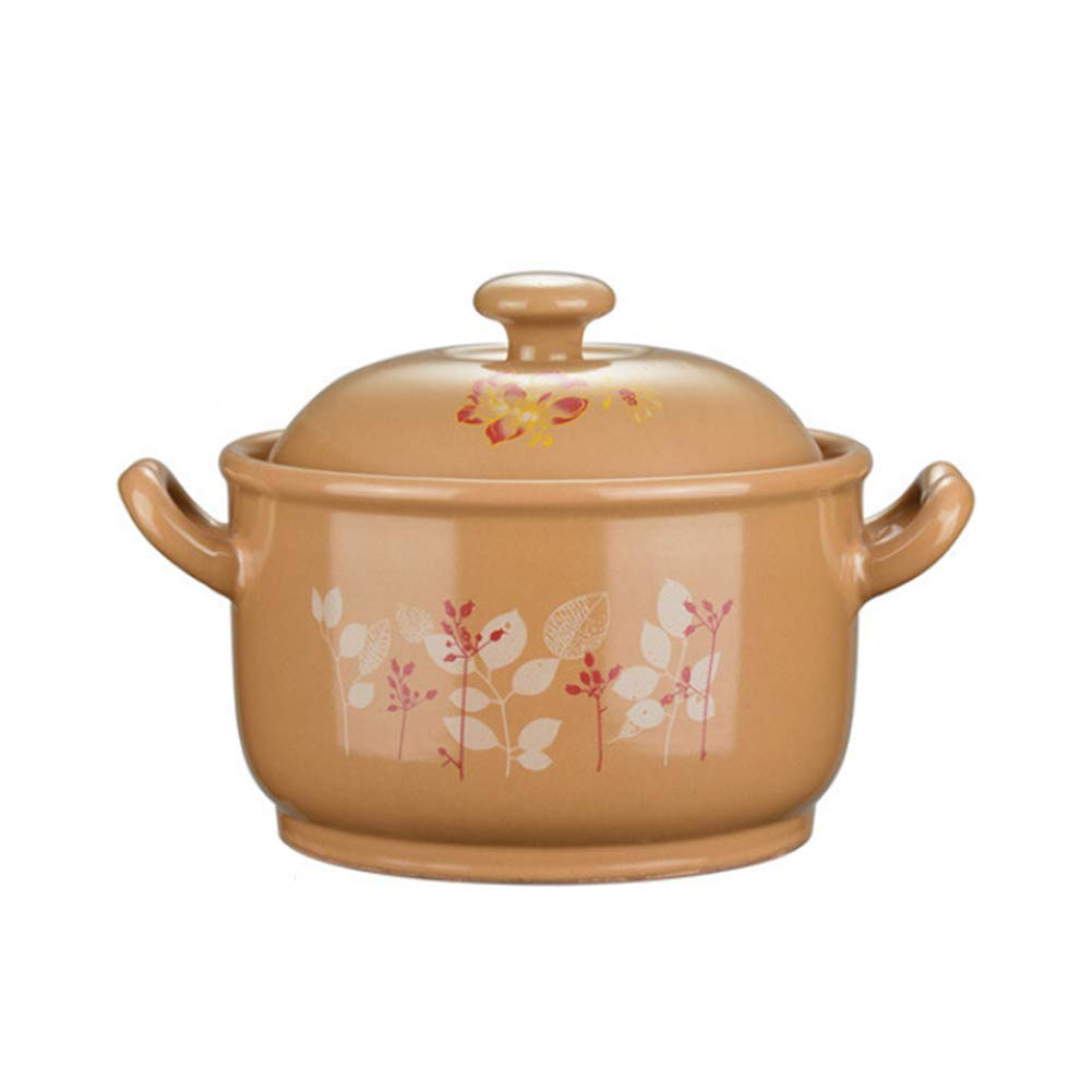 Casserole Dutch Ovens Ceramic Cast iron Enameled Casserole,Household Ceramic Pot Soup Pot Open Flame High Temperature Resistance Crock Pot Soup Pot-yellow1-4.2L