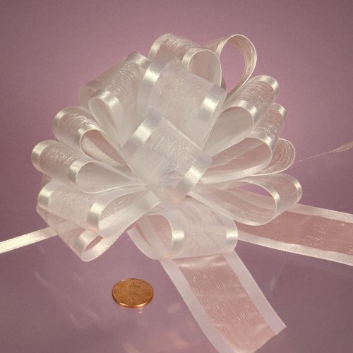 White Arabesque Ribbon Bow, 4'' by Paper Mart