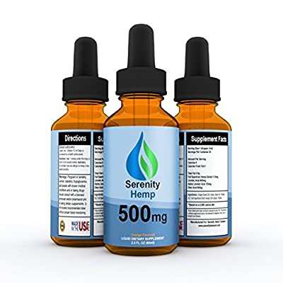 Serenity Hemp Orange Flavored Full Spectrum Hemp Oil 500 mg 2 fl oz - 100% Money Back Guarantee - Ease Pain, Inflammation, Anxiety - Organically Grown Hemp