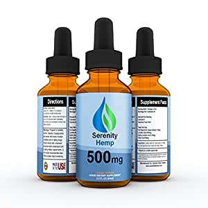 Serenity Hemp Oil - Orange Flavor - 2 fl oz 500mg - Certified Organic - 99.9% Pure Full Spectrum Hemp Extract - For Pain - Stress - Anxiety