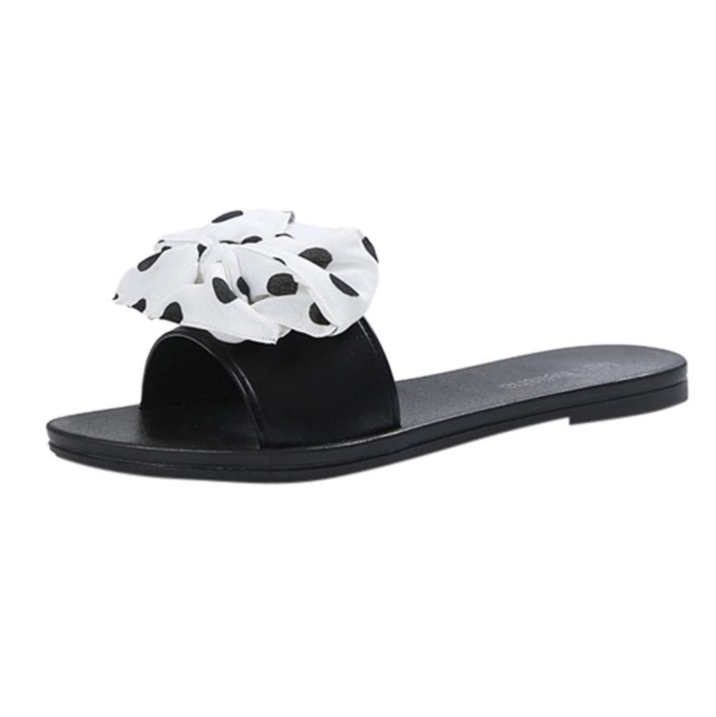AOJIAN Shoes Women's Sandals Bowknot Polka Dot Flats Flip Flop Slide Slipper Clog Mule White