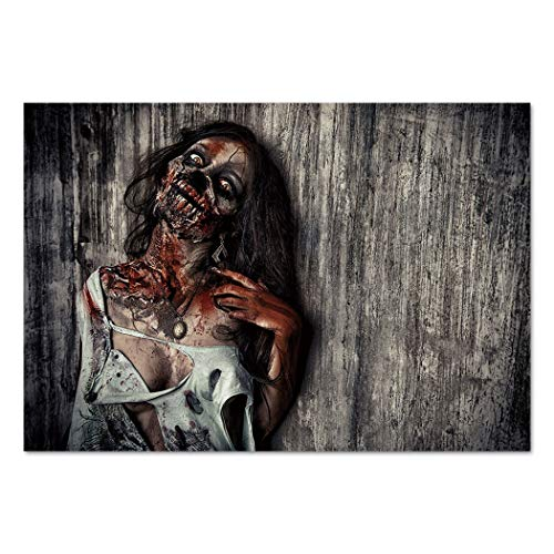 Large Wall Mural Sticker [ Zombie Decor,Angry Dead Woman Sacrifice Fantasy Mystic Night Halloween Image Decorative,Dark Taupe Peach Red ] Self-adhesive Vinyl Wallpaper / Removable Modern Decorating Wa