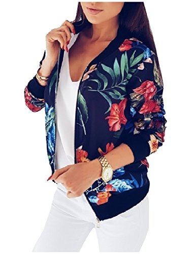 SportsX Women's Printing Thin Zip Long Sleeve Spring/Fall Jacket Coats Black L