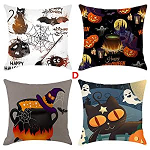 YWLINK 4PC Funda De Almohada De Calabaza De Halloween Square ...