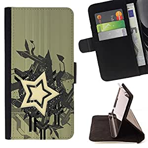 BETTY - FOR Samsung Galaxy S6 - Star Abstract Art - Style PU Leather Case Wallet Flip Stand Flap Closure Cover