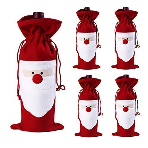 Price comparison product image D-Foxes 5PC Santa Claus Christmas Red Wine Bottle Cover Bags