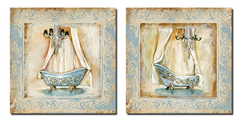 Fancy Light Blue Clawfoot Bathtub and Chandelier Set; Two 12X12 Poster Prints. Beige/Brown/Light Blue