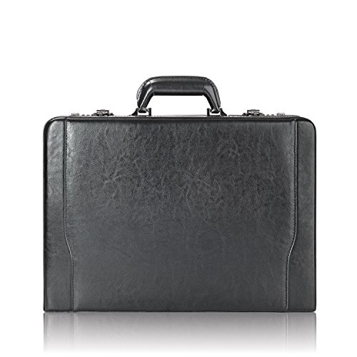 Solo Premium Leather 16 Inch Laptop Attaché, Hard-sided with Combination Locks, Black (Expandable Laptop Leather Solo)