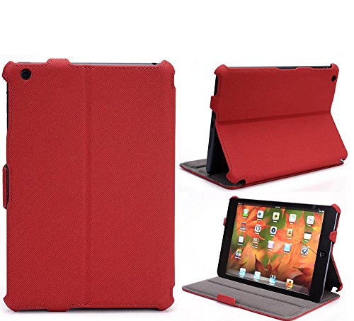 Red Coutour PU leather Case For Apple iPad Mini (1st generation), iPad Mini 2, iPad Mini 3 Tablets with Stand Feature