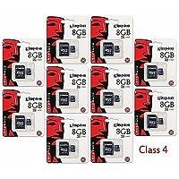 10 PACK - Kingston 8GB MicroSD HC Class 4 TF MicroSDHC TransFlash Memory Card SDC8/8GB 8G 8 GB GIGS (M.A8.RTx10.550) LOT OF 10- Retail Packaging