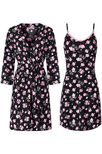 SofiePJ Women's Printed Chemise and Robe 2 Piece Sleepwear Set Hot Pink Black XL ()