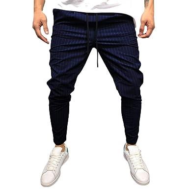 8d1c9672c6cd1 Amlaiworld Moda Pantalones Largo Hombre Chandal Pantalones de chándal de  Bolsillo Sueltos a Rayas sólidos Casuales para Hombres Pantalón de Trabajo  de ...