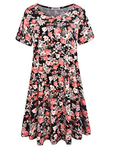 BELAROI Women's Summer Tunic Top Floral Print Swing T-Shirt Loose Dress(2X,Flower Black 1)