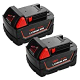 2Pack 6.0Ah 18V m18 for Milwaukee Replacement Battery, High Capacity Lithium-ion Battery for Milwaukee M18b 48-11-1820 48-11-1850 48-11-1860 48-11-1828 48-11-10 Cordless Power Tools