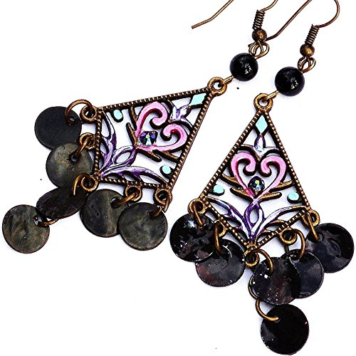 [Painted Boho Chandelier Dangle Earrings with Shell Charms and Swarovski Crystal Rhinestones] (Middle Eastern Girl Costume)