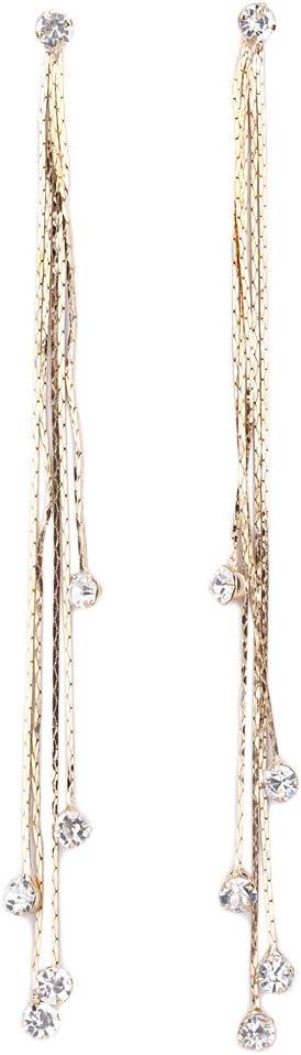 TININNA Pendientes Elegante para Mujer, Cristalino de Larga Borla Pendientes Gancho Pendientes de Diamantes de Imitación de Cristal del Oído de Las Mujeres de Regalo de la joyería-D'oro