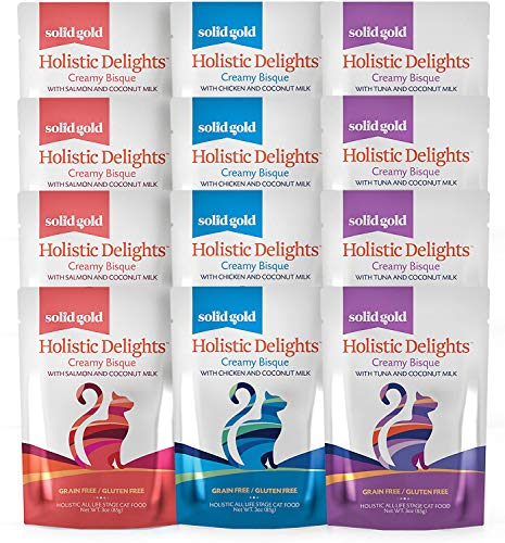Solid Gold Holistic Delights Creamy Bisque Grain & Gluten-Free Variety Pack Wet Cat Food, case of 12, 3-oz pouches