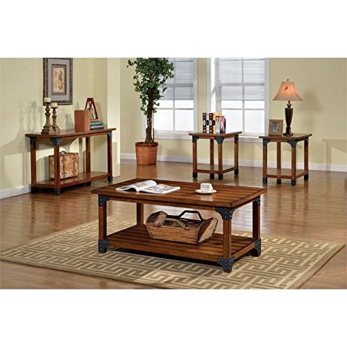 Furniture of America Karlton Industrial 3-Piece Accent Tables Set, Antique Oak by Furniture of America