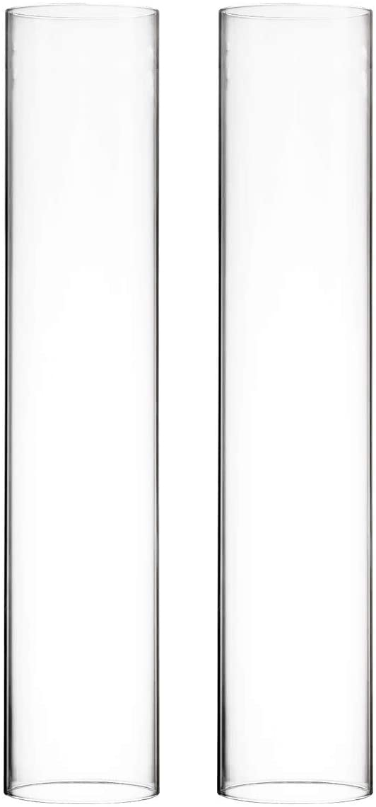 """CYS EXCEL Various Size Hurricane Candleholders, Chimney Tube, Glass Cylinder Open Both Ends, Open Ended Hurricane, Candle Shade, Glass Shade Candleholders Set of 2 (3"""" Wide x 16"""" Tall)"""