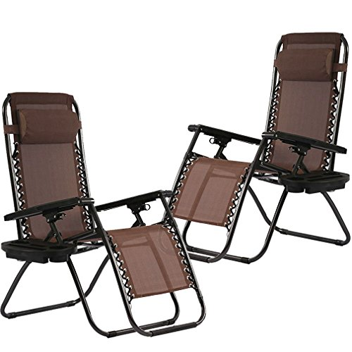 Zero Gravity Chairs Set of 2 with Pillow and Cup Holder Patio Outdoor Adjustable Dining Reclining Folding Chairs for Deck Patio Beach Yard (Brown) ()