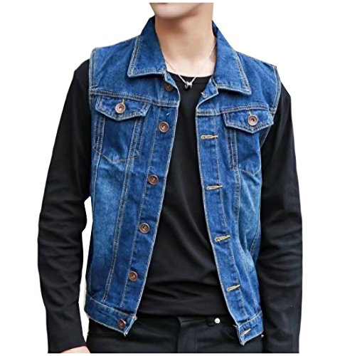 Abetteric Men's Custom Fit Solid Colored Lapel Denim Jacket Coat Vest Dark Blue S Custom Denim Jacket