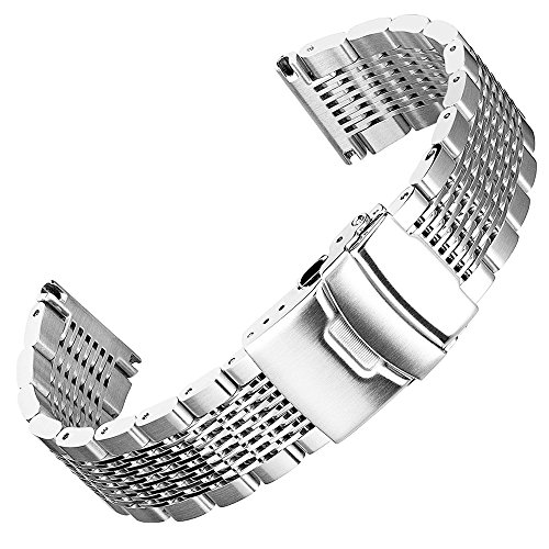 Solid Stainless Steel Watch Bracelet Mesh Band Wristband 22mm Silver with Push Button Deployment Clasp by Kai Tian (Image #1)