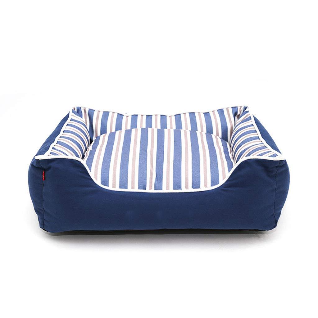 暖かいX ケンネル、洗える、犬のベッド、ペットの巣、大きな犬の家、暖かい、綿、ストライププリントキャンバス、猫、(青) (色 : 青, サイズ さいず : Xl:100*84*25cm) B07P1FCYPF 青 M:65*52*20 M:65*52*20|青