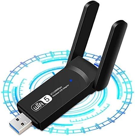 Adaptador inalámbrico WiFi USB 3.0 Adaptador Dual Band (5.8GHz 866Mbps / 2.4GHz 300Mbps) 802.11ac Dongle WiFi Inalámbrico, 2 Antenas WiFi de 5dBi, ...