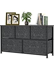 Fabric Dresser Organizer with 5 Drawers, Wide Dresser Storage Tower with Steel Metal Frame, Wooden Top, Easy Slide-in Drawer for Bedroom, Closet, Nursery, Entryway (Black)