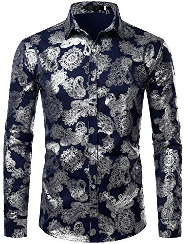 ZEROYAA Mens Paisley Shirts Metallic Printed Slim Fit Long Sleeve Button Down Party Shirts ZZCL26 Navy Blue XX-Large