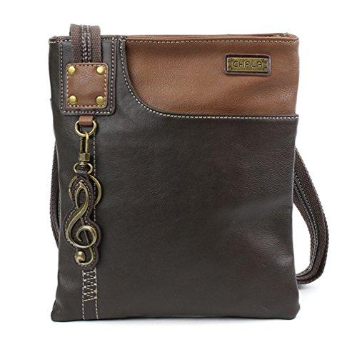 Chala SWING Cell Phone Crossbody handbags with Mini Music Clef Keychain- (Dark Brown)