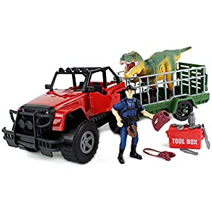 Boley Toys Wilderness Explorer Dinosaur Transport Truck Set- Jeep Car with Dino Trailer, Battery Operated Roaring Dinosaur, Adventurer, and 12 Pc Interactive Tool Box
