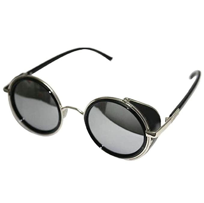 8219fbf45ba Koly Men s Vintage Retro Cyber Resin UV Protected Steampunk Sunglasses with  Mirror Lens and Round Glasses (F)  Amazon.in  Clothing   Accessories