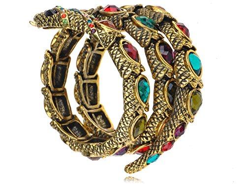 Jewel Gem Crystal Rhinestone Snake Wrap Bracelet Bangle Cuff