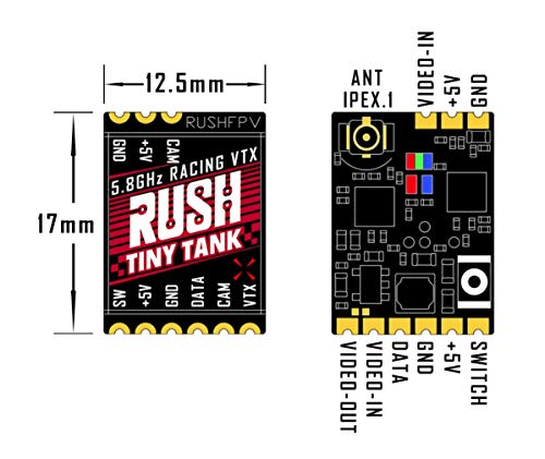 Rush Mini FPV Video Transmitter Drone VTX osd 5.8GHz 48CH PIT/25/100/200/350mW telemetry for RC FPV Racing Toothpick Drone