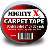 """Mighty """"X"""" Indoor Rug / Carpet Tape Double Sided 30 Yards x 2 Inches - Extra Thick - Heavy Duty by iPrimio"""