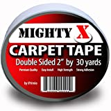Mighty ''X'' Indoor Rug / Carpet Tape Double Sided 30 Yards x 2 Inches - Extra Thick - Heavy Duty by iPrimio