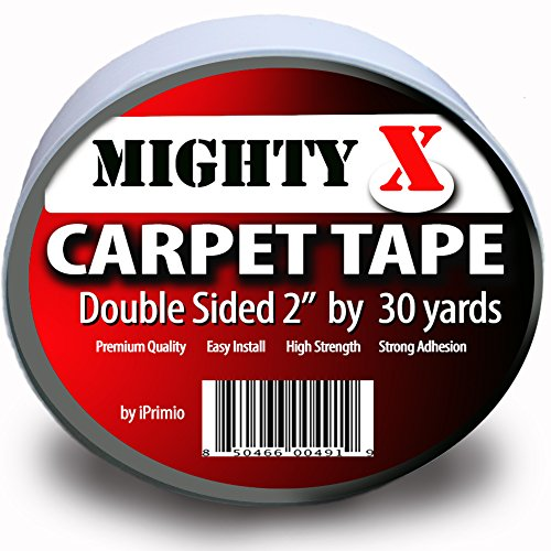 Mighty''X'' Indoor Rug/Carpet Tape Double Sided 30 Yards x 2 Inches - Extra Thick - Heavy Duty by iPrimio by iPrimio