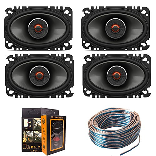 """(4) J-B-L GX642 4x6"""" 240W 2-Way GX Series Coaxial Car Loudspeakers with 18 Gauge 100 FT Speaker Wire and Free Mobile Holder"""