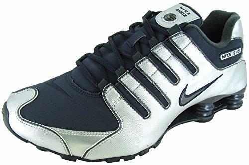 Chaussures De Course Nike Shox Nz Sl Argent / Bleu Marine Hommes 366363-005 Argent Métallique / Anthract-obsidienne