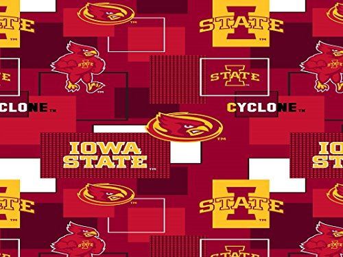 IOWA STATE CYCLONES COTTON FABRIC BLOCK PRINT-IOWA STATE BLOCK PRINT COTTON FABRIC-NEWEST ()