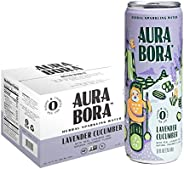 Aura Bora Herbal Sparkling Water Lavender Cucumber, 12 oz Can (Pack of 12)