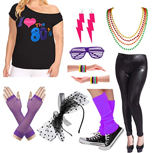Plus Size 80s Fancy Outfit Costume Set with Leather Leggings for Womens (1X/2X, Purple) -