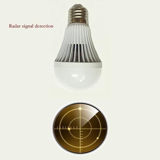 9W E27 Microondas Detección Señales de Radar Bombilla Lámpara Luz Sensor de Movimiento